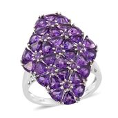 Lusaka Amethyst Platinum Over Sterling Silver Cluster Ring (Size 6.0) TGW 7.05 cts.