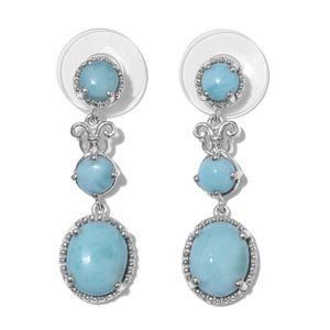 Larimar Platinum Over Sterling Silver Dangle Earrings TGW 8.29 cts.