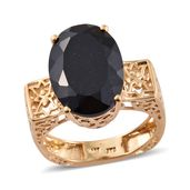 Australian Black Tourmaline Vermeil YG Over Sterling Silver Euro Style Ring (Size 5.0) TGW 12.80 cts.