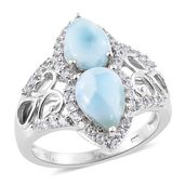 Larimar, Cambodian Zircon Platinum Over Sterling Silver Ring (Size 10.0) TGW 5.20 cts.