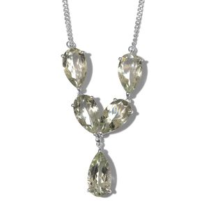 Green Amethyst Platinum Over Sterling Silver Necklace (18 in) TGW 18.31 cts.