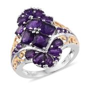 Lusaka Amethyst 14K YG and Platinum Over Sterling Silver Ring (Size 6.0) TGW 4.18 cts.
