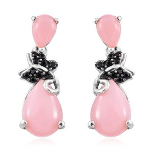 Peruvian Pink Opal, Thai Black Spinel Platinum Over Sterling Silver Earrings TGW 3.90 cts.