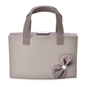 Dark Gray Hand Bag Design Jewelry Organizer with Mirror and Lock (8.8x3.3x9 in)