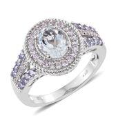 Espirito Santo Aquamarine, Tanzanite, Cambodian Zircon Platinum Over Sterling Silver Ring (Size 8.0) TGW 2.48 cts.