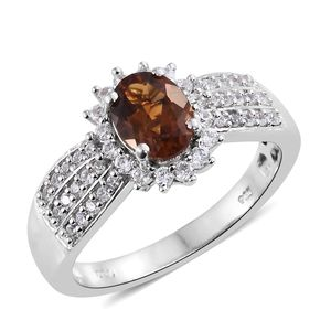 Santa Ana Madeira Citrine, Cambodian Zircon Platinum Over Sterling Silver Ring (Size 5.0) TGW 1.77 cts.
