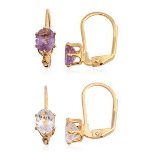 White Topaz, Amethyst Brazil Goldtone Set of 2 Earrings TGW 3.16 cts.