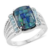 Australian Mosaic Opal, Electric Blue Topaz Platinum Over Sterling Silver Men's Ring (Size 8.0) TGW 5.14 cts.