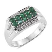 Brazilian Emerald, Cambodian Zircon Platinum Over Sterling Silver Men's Ring (Size 12.0) TGW 1.56 cts.