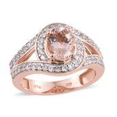 Marropino Morganite, Cambodian Zircon 14K RG Over Sterling Silver Ring (Size 7.0) TGW 2.45 cts.