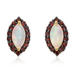 Ethiopian Welo Opal, Mozambique Garnet Vermeil YG Over Stud Sterling Silver Stud Earrings TGW 1.45 cts.