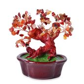 Red Agate Chips, Chroma, Copper Decorative Tree (7x4 in) TGW 700.00 cts.