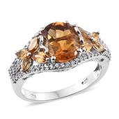 Serra Gaucha Citrine, Brazilian Citrine, Cambodian Zircon Platinum Over Sterling Silver Butterfly Shank Ring (Size 9.0) TGW 4.63 cts.