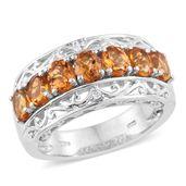 Serra Gaucha Citrine, Cambodian Zircon Platinum Over Sterling Silver 7 Stone Ring (Size 6.0) TGW 2.27 cts.