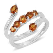 Serra Gaucha Citrine Platinum Over Sterling Silver Bypass Ring (Size 8.0) TGW 1.33 cts.