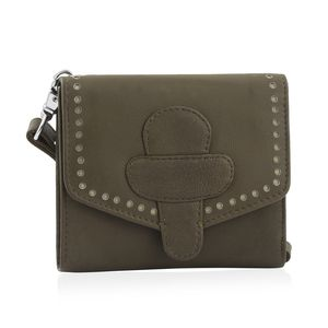 Olive Green 100% Genuine Leather RFID Wallet with Magnetic Loop Closure (4.25x1.5x5 in)