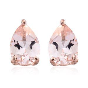 Marropino Morganite Vermeil RG Over Sterling Silver Pear Stud Earrings TGW 1.47 cts.