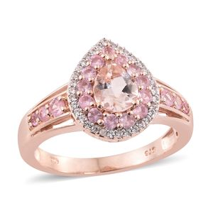Marropino Morganite, Mahenge Rose Spinel, Cambodian Zircon Vermeil RG Over Sterling Silver Ring (Size 5.0) TGW 2.08 cts.