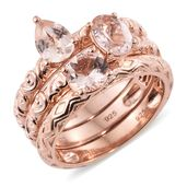 Set of 3 Marropino Morganite Vermeil RG Over Sterling Silver Stackable Rings (Size 9.0) TGW 1.87 cts.