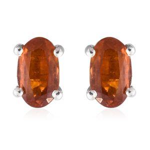Orange Kyanite Platinum Over Sterling Silver Stud Earrings TGW 0.62 cts.