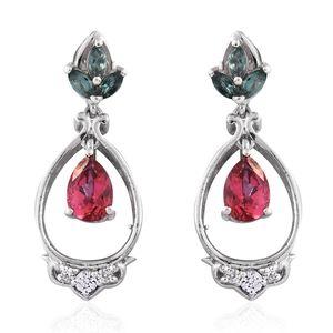 Rose Danburite, Ocean Blue Apatite, Cambodian Zircon Platinum Over Sterling Silver Earrings TGW 2.06 cts.