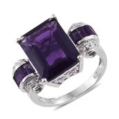 Lusaka Amethyst, Russian Diopside, Cambodian Zircon Platinum Over Sterling Silver Royal Ring (Size 11.0) TGW 12.31 cts.