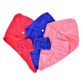 Multi Color 85% Polyester & 15% Polymide Set of 3 Hair Towel (23.6x9.8 in) and Set of 3 Elastic Hair Band (12.6x5.5 in)