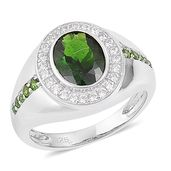 Russian Diopside, White Zircon Sterling Silver Men's Ring (Size 13.0) TGW 3.25 cts.