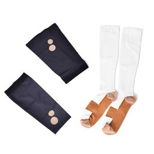 White Unisex Anti-Fatigue Copper Compression Socks with Knee and Elbow Sleeve (S)