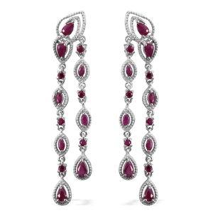 Burmese Ruby Platinum Over Sterling Silver Drop Earrings TGW 4.00 cts.