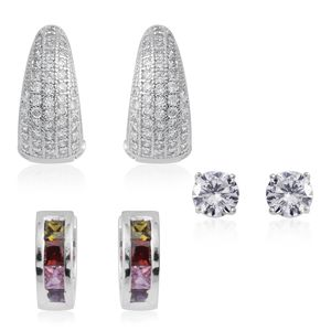 Simulated Multi Color Diamond Silvertone Set of 3 Earrings TGW 5.86 cts.