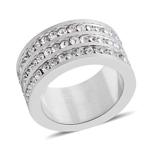 Simulated Diamond Stainless Steel Men's Eternity Band Ring (Size 6.5) TGW 1.79 cts.