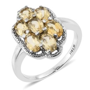 Brazilian Citrine Stainless Steel Floral Ring (Size 7.0) TGW 3.00 cts.