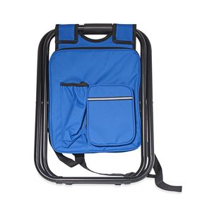 Blue Canvas, Iron Inbuilt Back Pack with Portable Folding Chair (19.7x13.8 in)