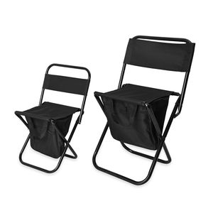 Black Canvas, Iron Set of 2 Inbuilt Back Pack with Portable Folding Chair (17.5x13.8, 13.2x11.4 in)