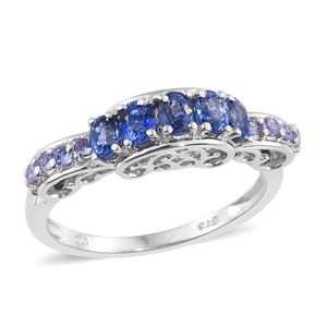 Ceylon Blue Sapphire, Tanzanite Platinum Over Sterling Silver Royal Ring (Size 7.0) TGW 1.44 cts.