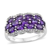 Nitin's Knockdown Deals Lusaka Amethyst, Cambodian Zircon Platinum Over Sterling Silver Cluster Ring (Size 8.0) TGW 3.25 cts.
