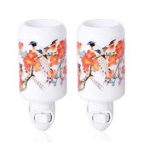 Set of 2 White Ceramic Flower and Bird Pattern Cylinder Shaped Aroma Diffuser Nigh Light (2.95x3.54x4.52 in)