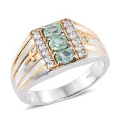 Green Kyanite, Cambodian Zircon 14K YG and Platinum Over Sterling Silver Men's Ring TGW 1.81 cts. (Size 12)