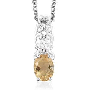Brazilian Citrine, White Topaz Sterling Silver Pendant With Stainless Steel Chain (20 in) TGW 1.21 cts.