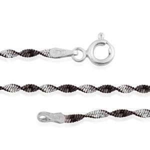 Black Rhodium Over and Sterling Silver Twisted Chain (24 in) (3.6 g)