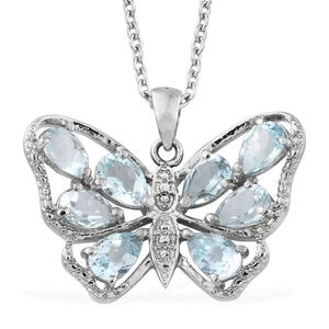Dan's Jewelry Selections Sky Blue Topaz Stainless Steel Butterfly Pendant With Chain (20 in) TGW 3.75 cts.