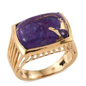 GP Mojave Purple Turquoise 14K YG Over Sterling Silver Ring (Size 7.0) TGW 13.43 cts.