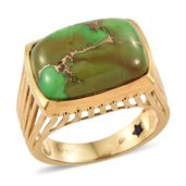 GP Mojave Green Turquoise 14K YG Over Sterling Silver Ring (Size 6.0) TGW 13.33 cts.