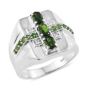 Russian Diopside, Cambodian Zircon Platinum Over Sterling Silver Men's Ring (Size 12.0) TGW 1.93 cts.