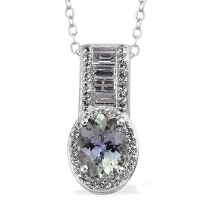 Green Tanzanite, White Topaz Platinum Over Sterling Silver Pendant With Chain (20 in) TGW 1.43 cts.