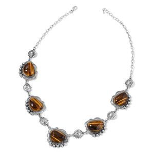 South African Tigers Eye Black Oxidized Silvertone Floral Station Necklace (24-26 in) TGW 254.50 cts.