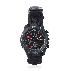 STRADA Japanese Movement Water Resistant Multi-functional Sport Watch with Black Nylon Strap and Stainless Steel Back