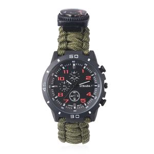 STRADA Japanese Movement Water Resistant Multi-functional Sport Watch with Olive Nylon Strap and Stainless Steel Back