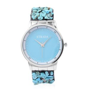 STRADA Japanese Movement Water Resistant Watch in Silvertone with Blue Howlite Chips Strap and Stainless Steel Back TGW 75.00 cts.